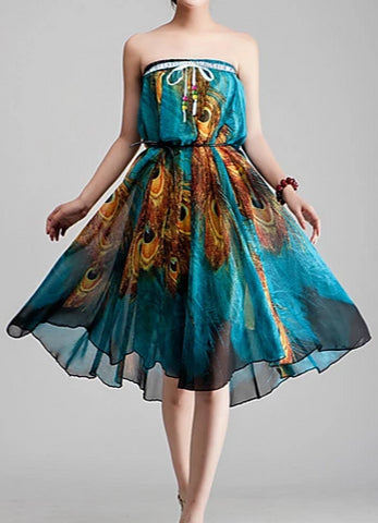 Image of Front view of a women's boho convertible dress/skirt worn in dress with belt.