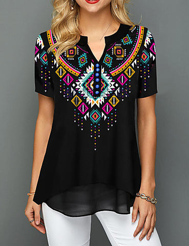 Front view of a black women's multi-color geometric blouse when worn.