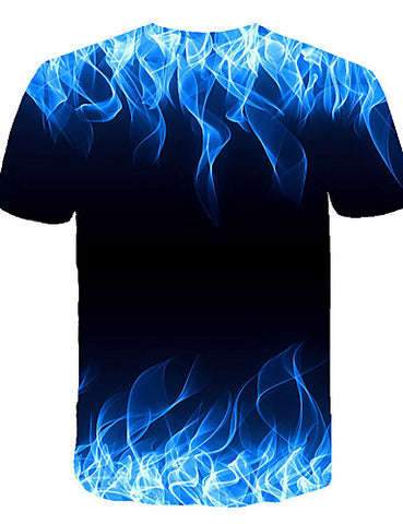 "Back view of Blue 3D ""Cool Fire"" Print Crew Neck Short Sleeve T-shirt for men"