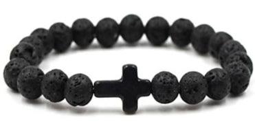 Image of Front view of Black Natural Stone Bead Bracelet with Black Cross for men