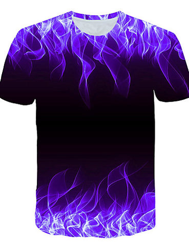 "Front view of Purple 3D ""Cool Fire"" Print Crew Neck Short Sleeve T-shirt for men"