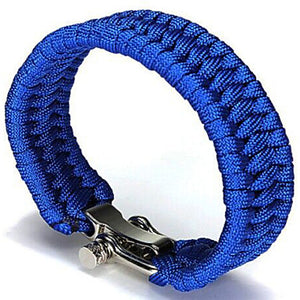 Front view of Blue Paracord Bracelet With No Slip Clasp