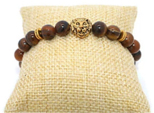 Image of Unisex bead lion bracelet.