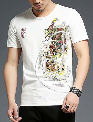 "Front view of White-colored Crew Neck Short Sleeve T-Shirt for men with a nice ""Peacock"" print on the left chest"