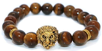Forward view of a unisex lion bead bracelet.
