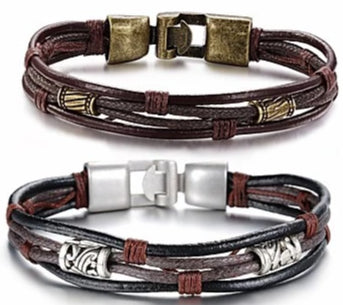Men's Twisted Leather Rope Wrap Bracelet