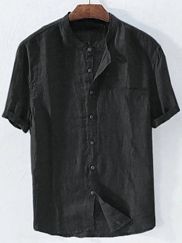 Front view of a black men's casual linen patchwork standing collar shirt.