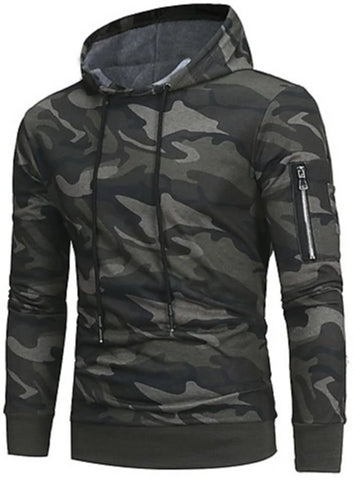 Front view of Green Camo Hoodie with Zippered Sleeve Pocket for men