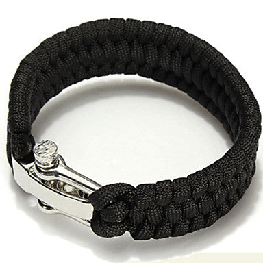 Image of Front view of Black Paracord Bracelet With No Slip Clasp