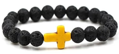 Image of Front view of Black Natural Stone Bead  Bracelet with Yellow Cross for men