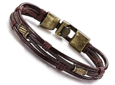 Front view of Twisted Leather Rope Wrap Bracelet for men