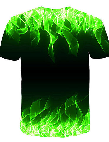 "Back view of Green 3D ""Cool Fire"" Print Crew Neck Short Sleeve T-shirt for men"