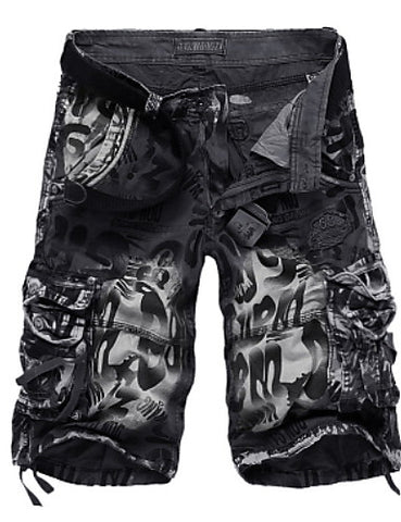 Front view of Black Military Throwback Style Graffiti Jeans Shorts for men
