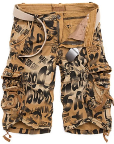 Front view of Yellow Military Throwback Style Graffiti Jeans Shorts for men