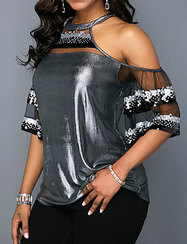 Left view of Cold Shoulder Silver Sexy Top for women