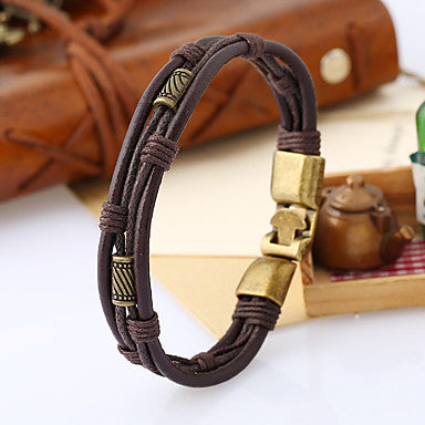 Front view of Brown Twisted Leather Rope Wrap Bracelet for Men