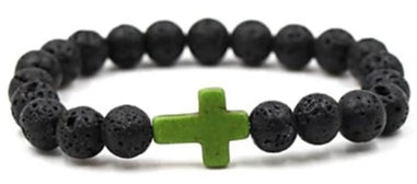 Image of Front view of Black Natural Stone Bead Bracelet with Green Cross for men