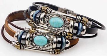 Front view image of Vintage Turquoise Woven Tri-Strap Leather Bracelet for men