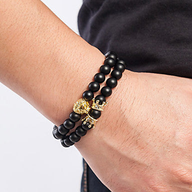 2 Piece Men's Bead Bracelet