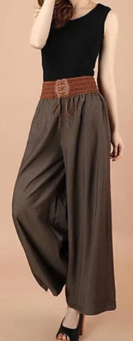 Brown Vintega style, wide leg, low waist Women's polyester patchwork design pants