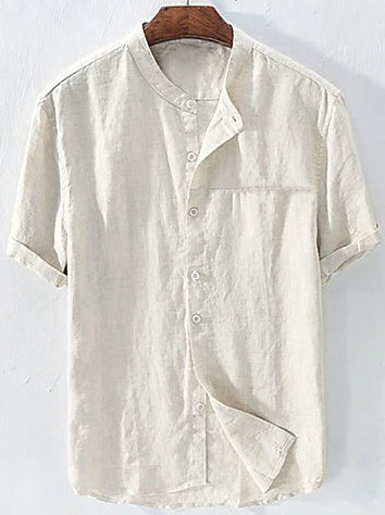 Front view of a gray men's casual linen patchwork standing collar shirt.