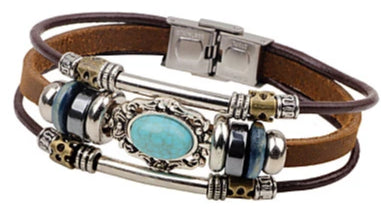 Front view of Brown Vintage Turquoise Woven Tri-Strap Leather Bracelet for men
