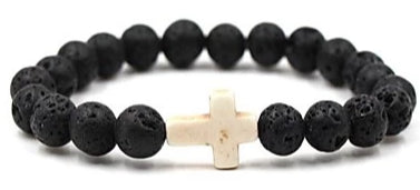 Image of Front view of Black Natural Stone Bead Bracelet with White Cross for men