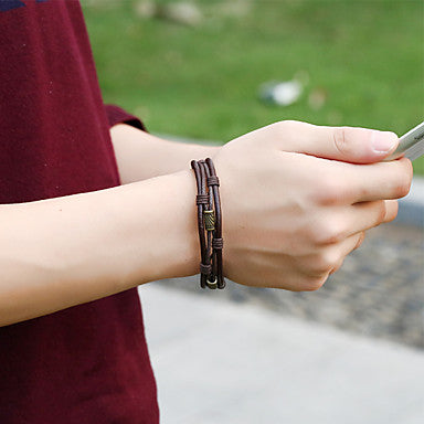 An image of a person wearing Brown Twisted Leather Rope Wrap Bracelet