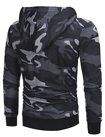 Back view of Gray Camo Hoodie with Zippered Sleeve Pocket for men