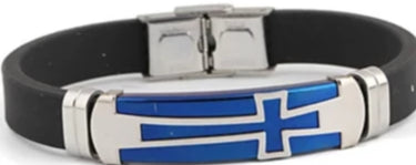 Front view of Blue Wide Bangle Titanium Steel Retro Cross Punk Bracelet for men