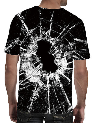 "Back view image of a man wearing Black Casual ""Shattered Glass"" Print Crew Neck Short Sleeve T-Shirt"