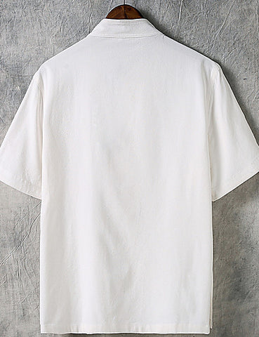 Back view of a white Men's Casual Chinoiserie Linen Short Sleeve Shirt.