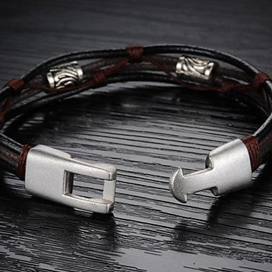 Front view of Black and Bronze-colored Twisted Leather Rope Wrap Bracelet for Men