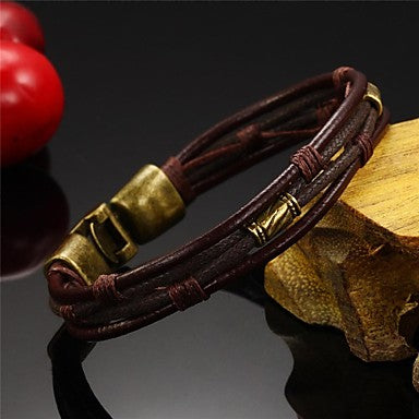 Front view Brow Twisted Leather Rope Wrap Bracelet for men