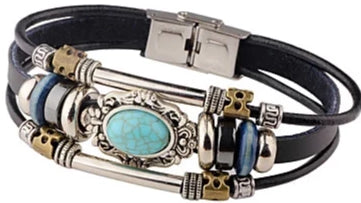 Front view of Black Vintage Turquoise Woven Tri-Strap Leather Bracelet for men