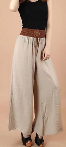 Khaki Vintega style, wide leg, low waist Women's polyester patchwork design pants
