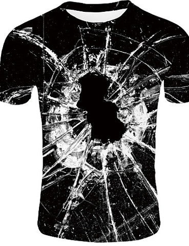 "Front view of Black Casual ""Shattered Glass"" Print Crew Neck Short Sleeve T-Shirt for men"