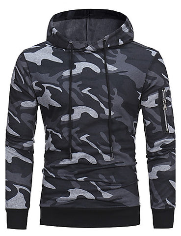 Image of Front view of Gray Camo Hoodie with Zippered Sleeve Pocket for men