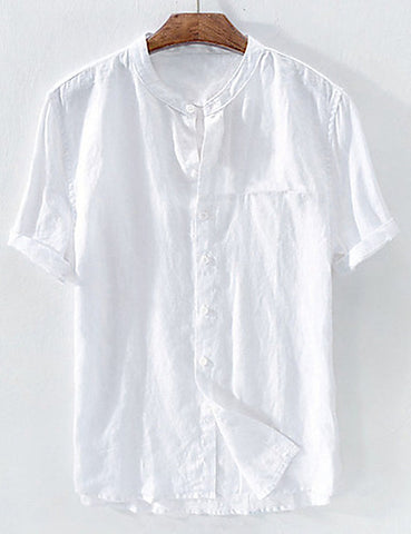 Front view of a white men's casual linen patchwork standing collar shirt.