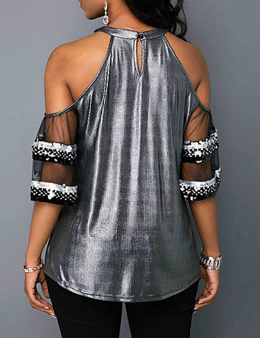 Back view of Cold Shoulder Silver Sexy Top for women