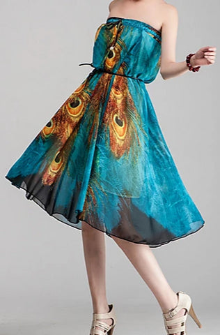 Image of Women's boho convertible dress/skirt worn in dress with belt.