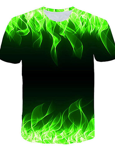 "Front view of Green 3D ""Cool Fire"" Print Crew Neck Short Sleeve T-shirt for men"