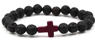 Image of Front view of Black Natural Stone Bead Bracelet with Dark Cross for men