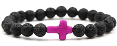 Front view of Black Natural Stone Bead Bracelet with Pink Cross for men