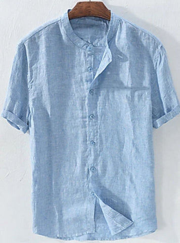 Front view of a blue men's casual linen patchwork standing collar shirt.