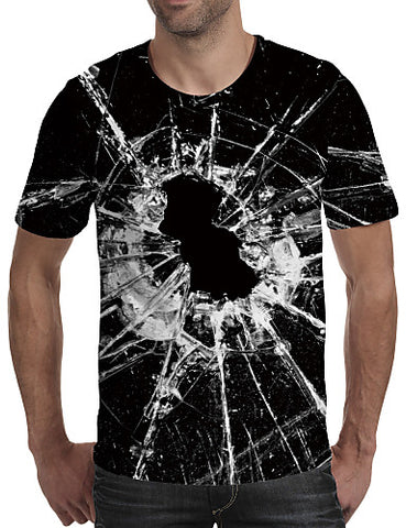 "Front view of a man wearing Black Casual ""Shattered Glass"" Print Crew Neck Short Sleeve T-Shirt"