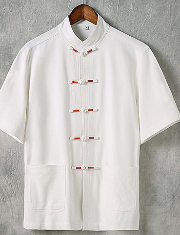 Front view of a white Men's Casual Chinoiserie Linen Short Sleeve Shirt.