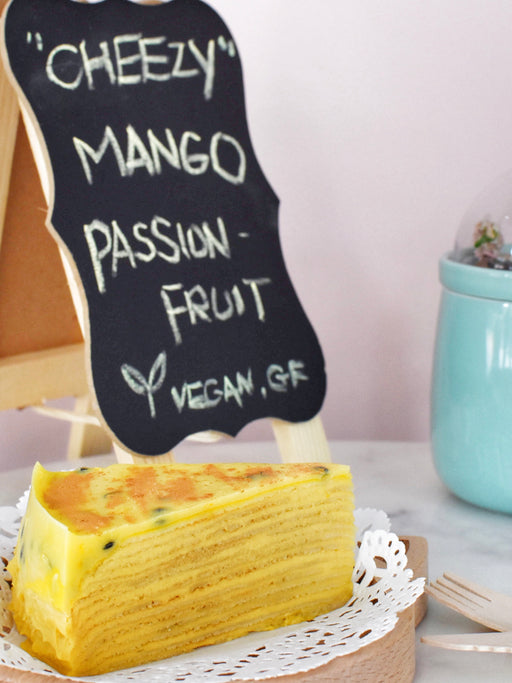 Vegan Mango Passion Fruit Crepe Cake