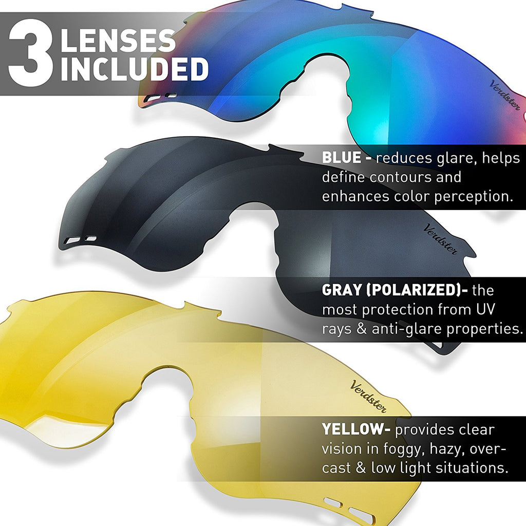 VERDSTER CYCLER - CYCLING SUNGLASSES WITH 3 INTERCHANGEABLE LENSES - MIRRORED, POLARIZED AND YELLOW