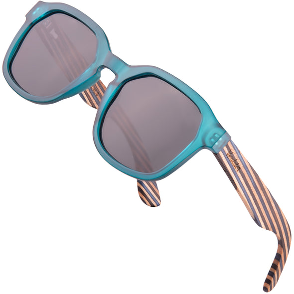 Blue frame with black lenses/striped maple